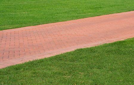 sendero de ladrillo rojo sobre verde c�sped. paisaje de verano. Foto de archivo - 3548759
