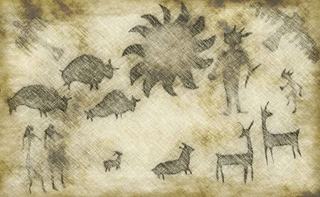 Ancient caveman drawings Stock Photo - 3093408
