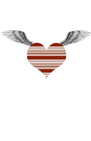 Vector heart illustration with wings Banco de Imagens