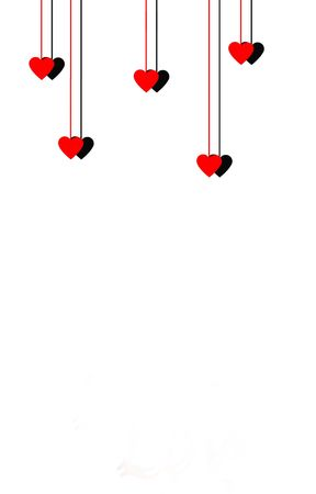 dangling: Dangling hearts isolated on a white background