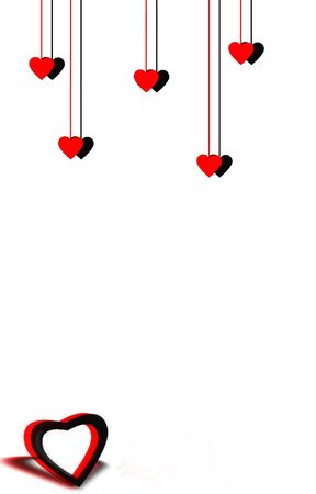 dangling: Dangling hearts and  3D heart isolated on a white background Stock Photo
