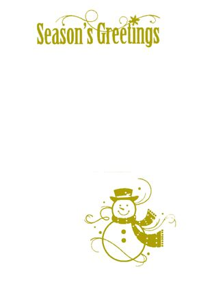 Seasons greetings text with a snowman isolated on a white background photo