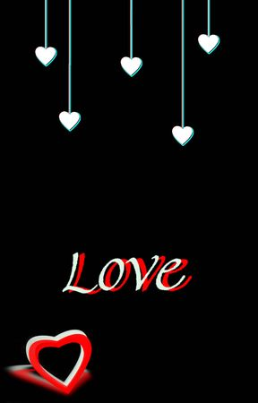 3D hearts and love text on a black background