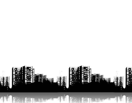 Illustration of rows of buildings with reflections and plenty of copy space