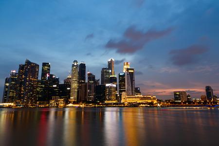 finacial: Singapore  marina bay  finacial district night Editorial
