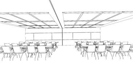 office building interior: interior drawingsketch  in black and white isolate Illustration