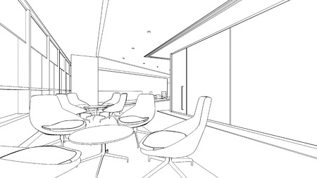 interior drawingsketch  in black and white isolate Illustration