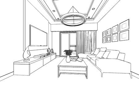 esbozar boceto de un interior con trazado de recorte Foto de archivo