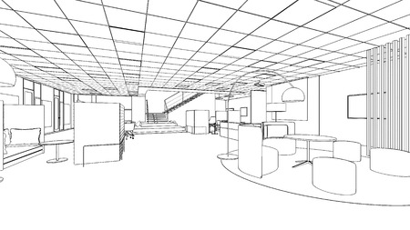 outline sketch of a interior with clipping path