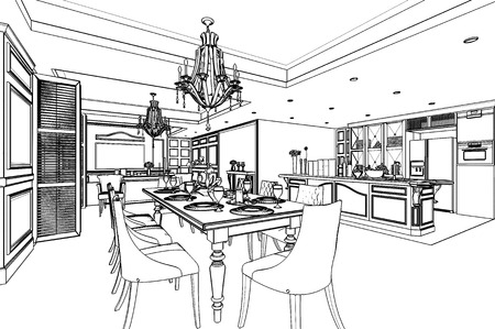 outline sketch of a interior with clipping path photo