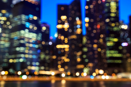 blurry: View of city night lights blurred bokeh background. Stock Photo