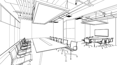 perspectives: outline sketch of a interior Editorial