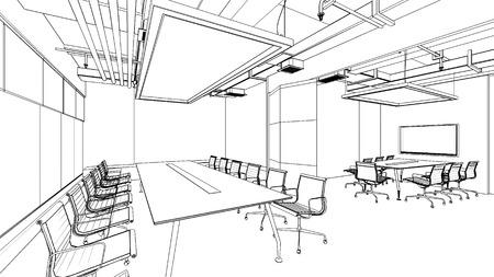 modern house sketch: outline sketch of a interior Editorial