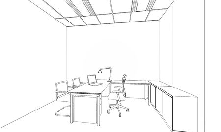 outline sketch of a interior space Stock Photo - 33418349