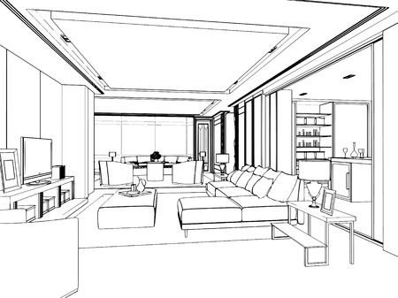 interior drawing: outline sketch of a interior space
