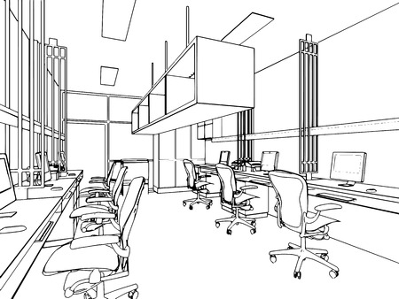 drawing room: outline sketch of a interior space