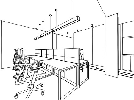 outline sketch drawing of a interior space office Stock Photo - 40160659