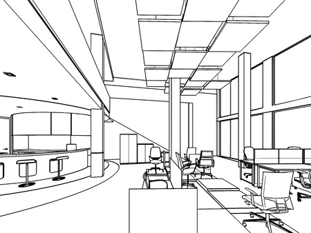 office furniture: outline sketch drawing of a interior space office