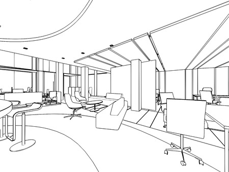 office space: outline sketch drawing of a interior space office