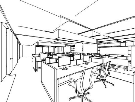 dibujos lineales: esbozar perspectiva dibujo de bosquejo de una oficina de espacio interior