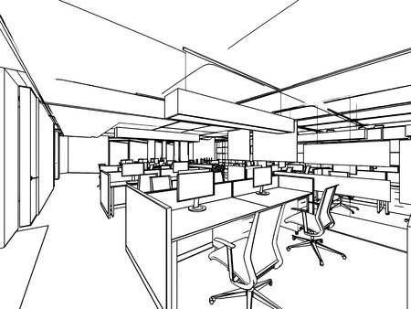 home office interior: outline sketch drawing perspective of a interior space office