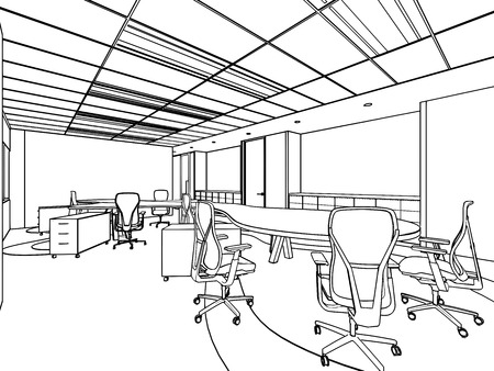 mobiliario de oficina: esbozar el dibujo boceto de una oficina de espacio interior