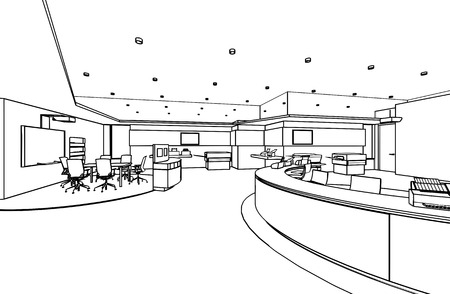 sketch drawing: outline sketch drawing perspective of a interior space office