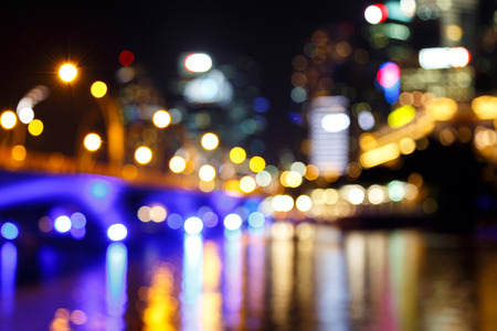 View of city night abstract circularlights blurred bokeh background.