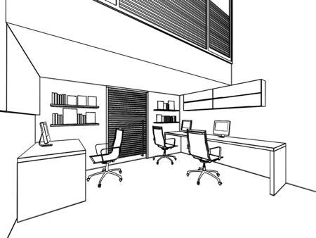 office space: outline sketch drawing perspective of a interior space office