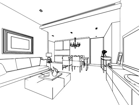 interior drawing: outline sketch drawing perspective of a interior space