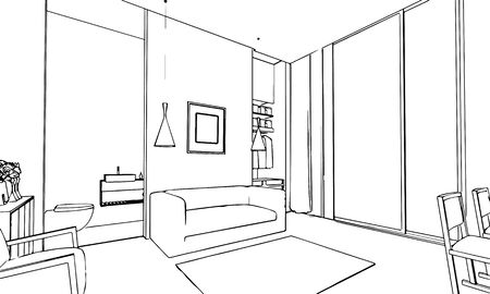 sketch sketches: outline sketch drawing perspective of a interior space
