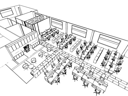 outline sketch drawing perspective of a interior space office Stock Photo - 45713397