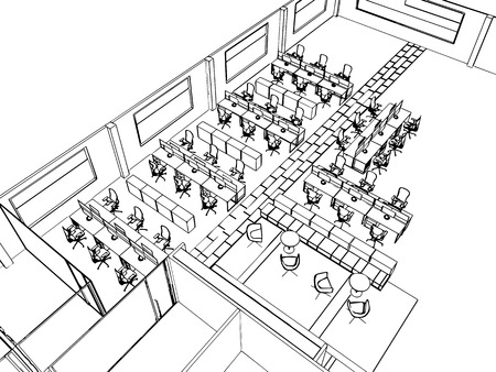 interior design: outline sketch drawing perspective of a interior space office