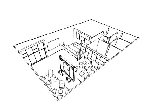 illustration isolated: interior outline sketch drawing perspective of a space office