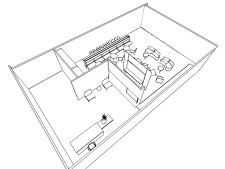 sketch drawing: interior outline sketch drawing perspective of a space office