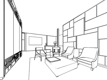 sketch drawing: interior outline sketch drawing perspective of a space