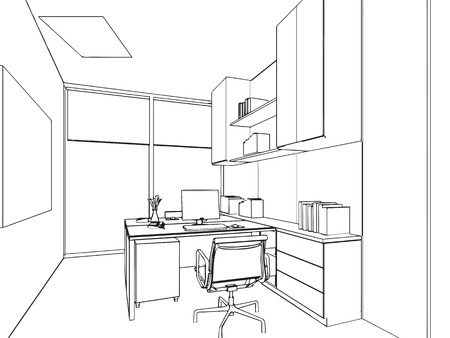 modern office interior: outline sketch drawing perspective of a interior space