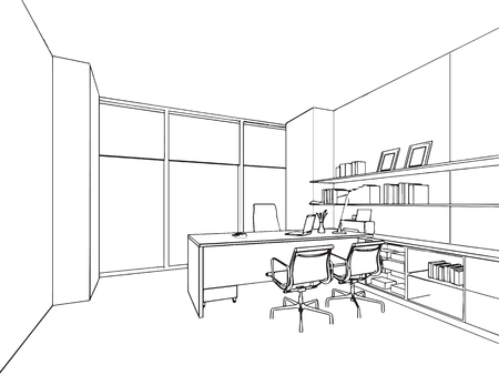 sketch drawing: outline sketch drawing perspective of a interior space