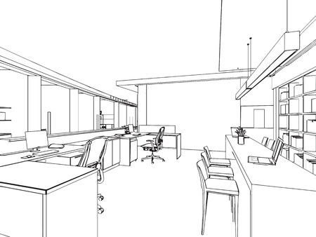 design office: outline sketch drawing perspective of a interior space
