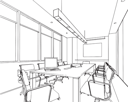 perspektiv: outline sketch drawing perspective of a interior space