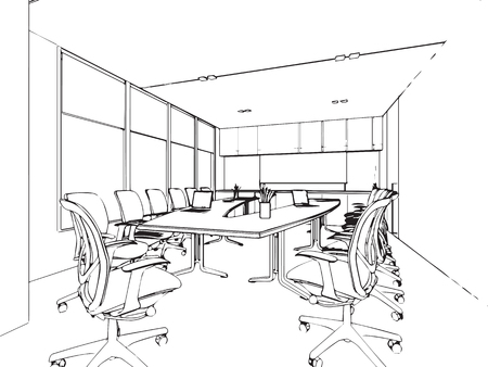 outline sketch drawing perspective of a interior space Stock Vector - 48178598