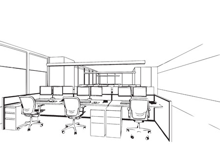 office space: outline sketch drawing perspective of a interior space