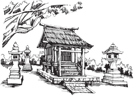 Free hand sketch japanese shrine