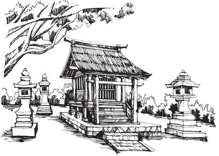 shrine: Free hand sketch japanese shrine
