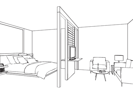 bed room: outline sketch drawing perspective of a interior space