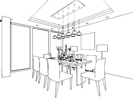 esbozar perspectiva dibujo de bosquejo de un espacio interior