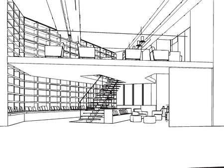 outline sketch drawing perspective of a interior space Stock Vector - 50643152