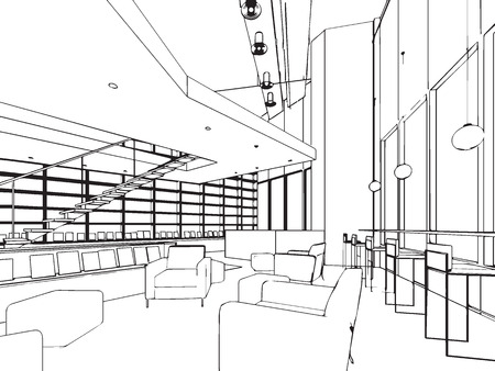 sketch out: outline sketch drawing perspective of a interior space