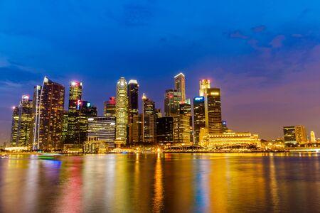 marina bay: Singapore Skyline and view of Marina Bay Stock Photo