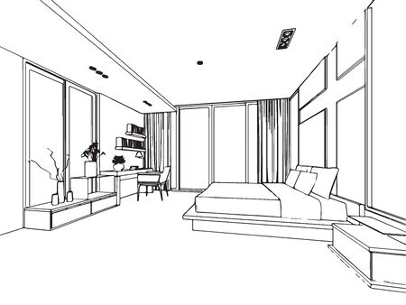 design drawing: outline sketch drawing perspective of a interior space